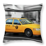 Yellow Cab In Manhattan In A Rainy Day. Throw Pillow