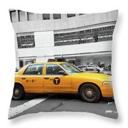 Yellow Cab In Manhattan With Black And White Background Throw Pillow