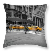 Yellow Cab On Fifth Avenue, New York 4 Throw Pillow
