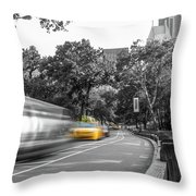 Yellow Cabs In Central Park, New York 3 Throw Pillow