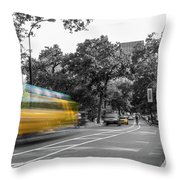 Yellow Cabs In Central Park, New York 4 Throw Pillow