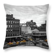Yellow Cabs In Chelsea, New York 2 Throw Pillow