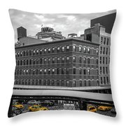 Yellow Cabs In Chelsea, New York 3 Throw Pillow