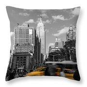 Yellow Cabs In Midtown Manhattan, New York Throw Pillow