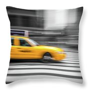 Yellow Cabs In New York 6 Throw Pillow