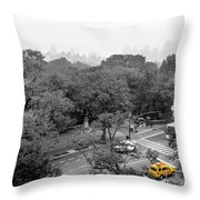 Yellow Cabs Near Central Park, New York Throw Pillow