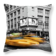 Yellow Cabs Near Macy's Department Store, New York Throw Pillow