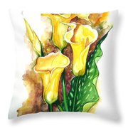 Yellow Callas Throw Pillow
