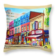 Yellow Car At The Smoked Meat Lineup Throw Pillow