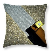 Yellow Car On The Stone Pavement Throw Pillow