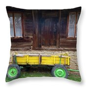 Yellow Cart And Green Wheels  Throw Pillow