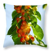 Yellow Cherries Throw Pillow