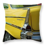 Yellow Chevrolet Tail Fin Throw Pillow