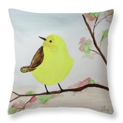 Yellow Chickadee On A Branch Throw Pillow