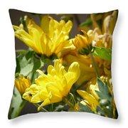 Yellow Chrysanthemum Throw Pillow
