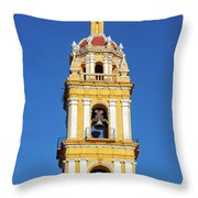 Yellow Church And Blue Sky Throw Pillow