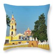 Yellow Church In Cholula, Mexico Throw Pillow
