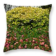 Yellow Coleus And Lantana At Pilgrim Place In Claremont-california Throw Pillow
