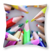 Yellow. Colored Pencils Used By Children Throw Pillow