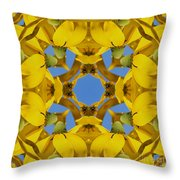 Yellow Coneflower Kaleidoscope Throw Pillow