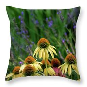 Yellow Coneflowers And Lavender 1633 H_2 Throw Pillow