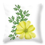 Yellow Cosmos Throw Pillow by Anne Norskog