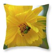 Yellow Cosmos Flower Throw Pillow