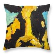 Yellow Cow Throw Pillow