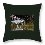 Yellow Crowned Night Heron Catches A Crab Throw Pillow