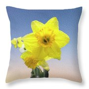 Yellow Daffodil On Canvas Throw Pillow