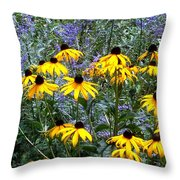 Yellow Daisies And Purple Sage Throw Pillow