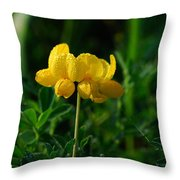Yellow Dew Drops Throw Pillow