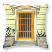 Yellow Door In Panama Throw Pillow