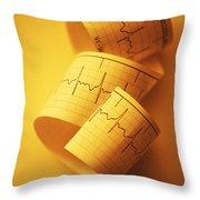 Yellow Ekg Throw Pillow