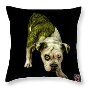 Yellow English Bulldog Dog Art - 1368 - Bb Throw Pillow