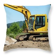 Yellow Excavator In Anacortes Throw Pillow