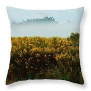 Yellow Field And The Fog Throw Pillow