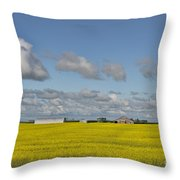 Yellow Fields And Blue Clouds Throw Pillow