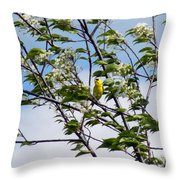 Yellow Finch And Flowers Throw Pillow
