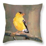 Yellow Finch Throw Pillow