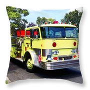Yellow Fire Truck Throw Pillow