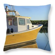 Yellow Fishing Boat Early Morning Throw Pillow