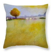 Yellow Flamboyant Near The River Throw Pillow