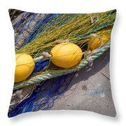 Yellow Floats Throw Pillow