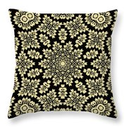Yellow Floral Ornament Design Throw Pillow