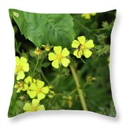 Yellow Flower And A Black Bug  Throw Pillow