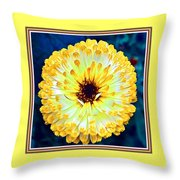 Yellow Flower H B With Decorative Ornate Printed Frame Throw Pillow