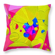 Yellow Flower In Pink Field 008 Throw Pillow