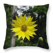 Yellow Flower In Woods Throw Pillow