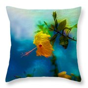 Yellow Flower On Blue Sky Throw Pillow